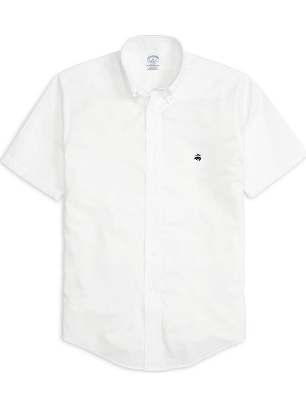 Brooks Brothers Non-Iron Regent Kesim Kısa Kollu Oxford Gömlek