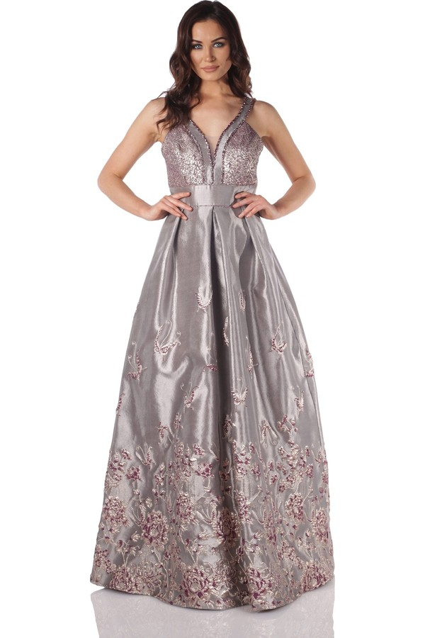 Pierre Cardin Powder Jacquard Princess Long Evening Dress