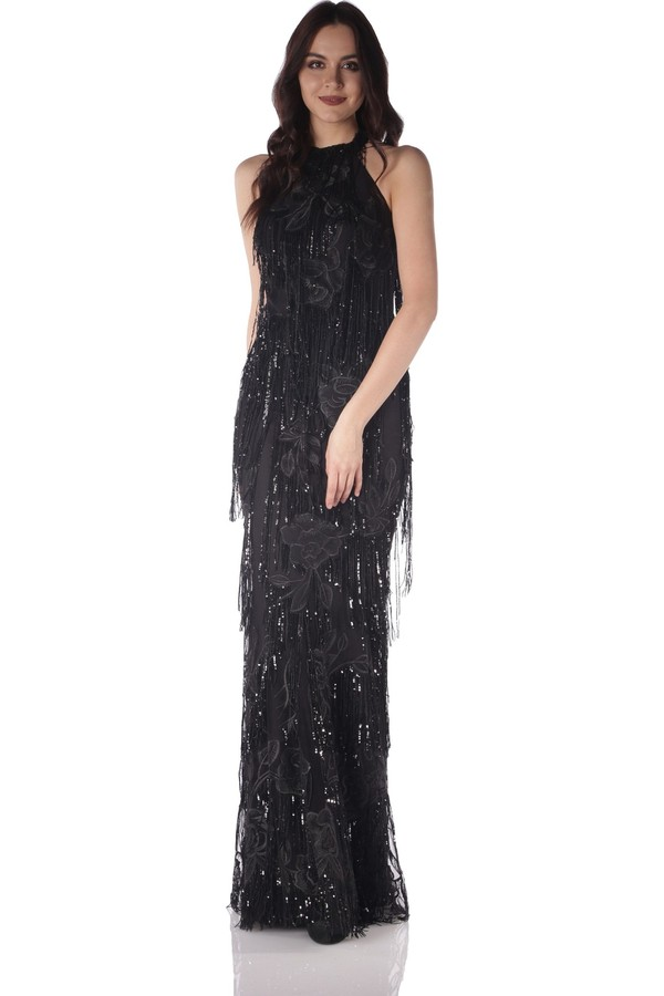 Pierre Cardin Long Black Sequined Fringed Evening Dress