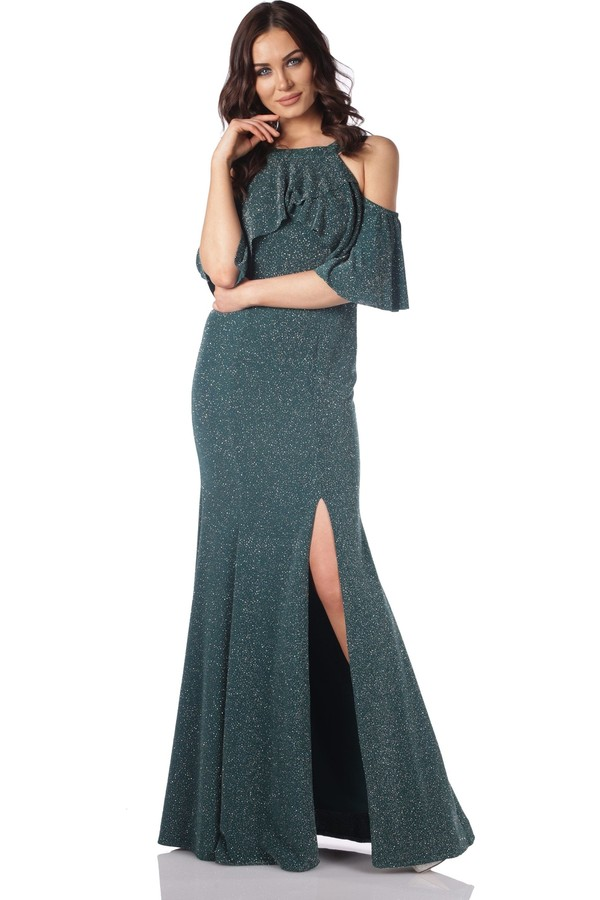 Pierre Cardin Green Lurex Slit Long Evening Dress