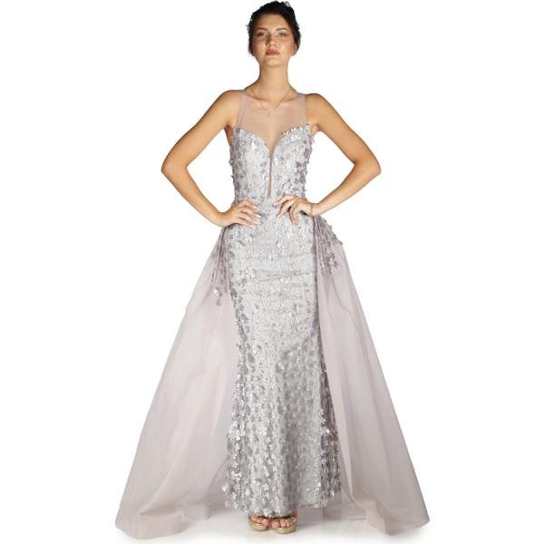 a59ed682230ab Pierre Cardin Gri Çiçekli Pelerinli Uzun Abiye Elbise - 42 Fiyatları ...