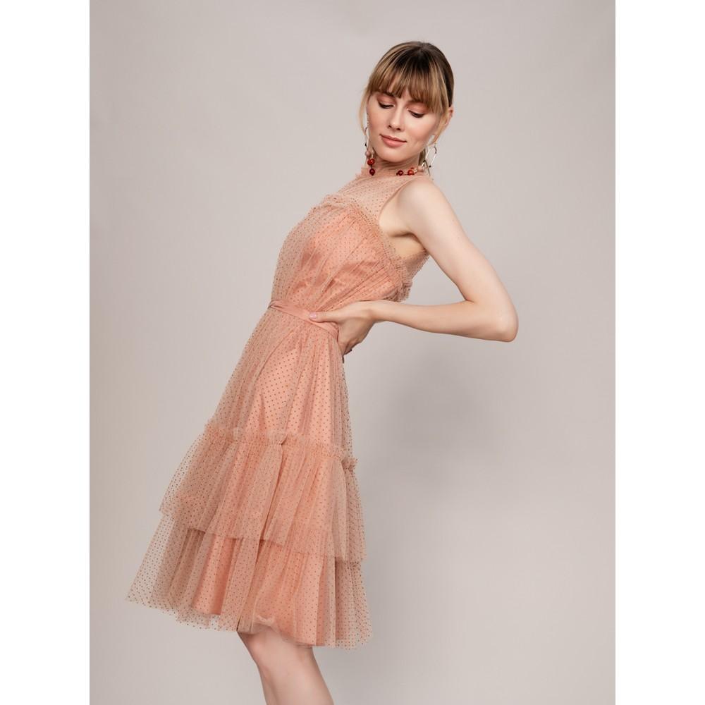 70e5d44897df6 Roman Tül Detaylı Puantiyeli Somon Abiye Elbise Fiyatı