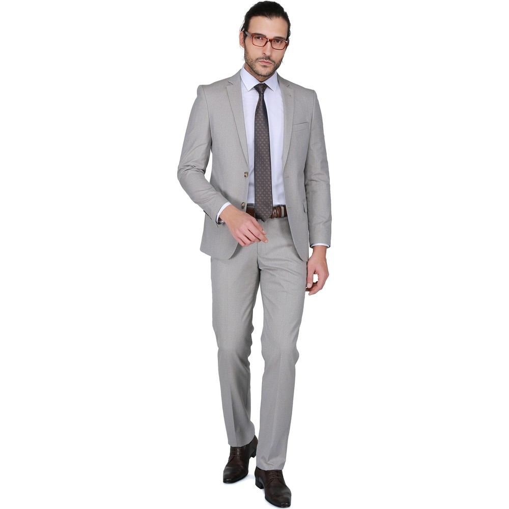 4bae4ec1bb84f Buenza Tirano Slim Fit Mono Tk Yrt Takım Elbise - Bej