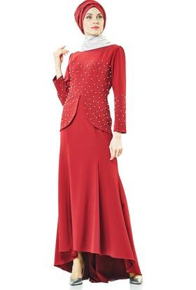 Lady Nur Abiye Elbise-Bordo 3009-67