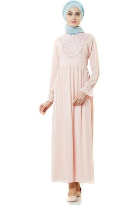 2niq Güpürlü Elbise-Pembe PN8252-42