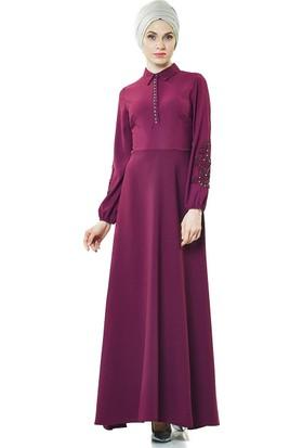 2niq Güpür Detaylı Abiye Elbise-Mürdüm PN8145-51