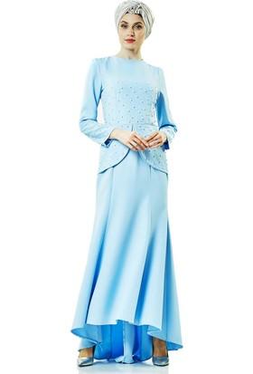 Lady Nur Abiye Elbise-Buz Mavisi 3009-14