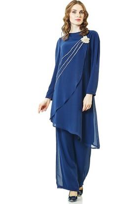 Lady Nur Pantolon Takım-Lacivert 9009-17