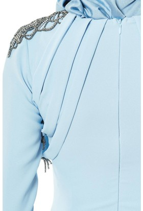 59e9970522931 ... Fashion Night Omuz Detaylı Abiye Elbise-Buz Mavi 2230-14