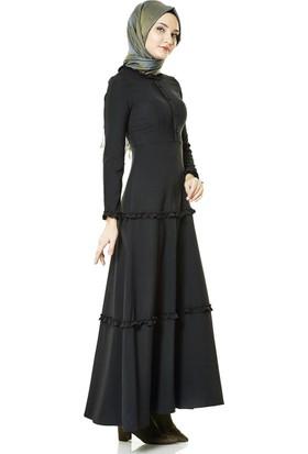 Nassah Fırfır Detaylı Elbise-Siyah LR8272-01