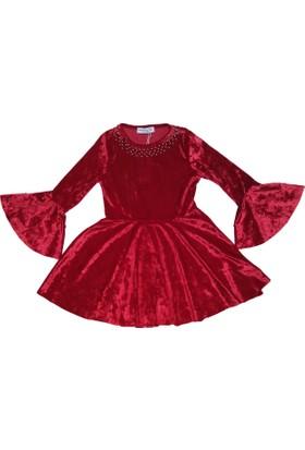 08223aa230657 DobaKids İspanyol Kollu Kız Çocuk Kadife Elbise Kırmızı 3 12 Yaş