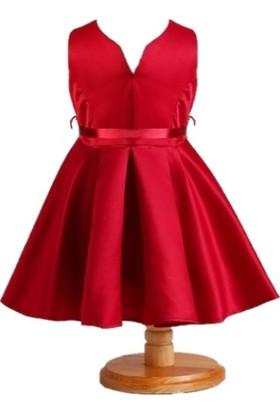 Butikhappykids Kız Çocuk Şarap Rengi Kurdeleli Düz Saten Abiye Elbise