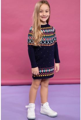 2cc0458e78049 Defacto Kız Çocuk Etnik Detaylı Puantiye Desenli Uzun Kollu Triko Elbise ...