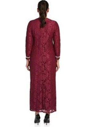 Arıkan Büyük Beden 2555 Mürdüm Uzun Abiye Elbise