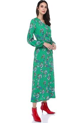 Robin Kruvaze Baskılı Uzun Elbise D76415