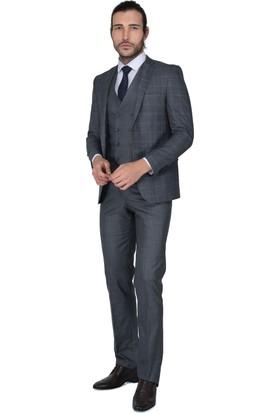 Buenza Mesina Ek Mono Yelekli Dar Kalıp Takım Elbise - Kahverengi