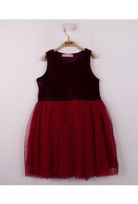 Toontoy Kız Çocuk Eteği Tüllü Kadife Elbise Mürdüm 6 Yaş - 116 cm Boy