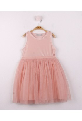 Toontoy Kız Çocuk Eteği Tüllü Kadife Elbise Pudra 5 Yaş - 110 cm Boy