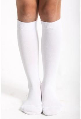 Hane14 Diz Altı Koton Çorap Beyaz