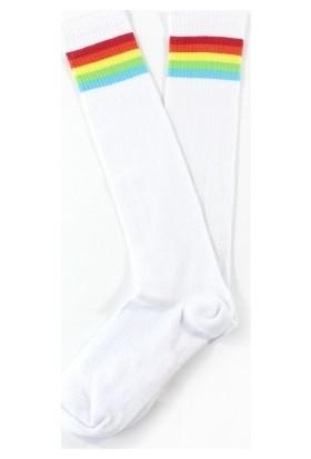 Hane14 Rainbow Renkli Çizgili Diz Altı Koton Spor Çorap Beyaz