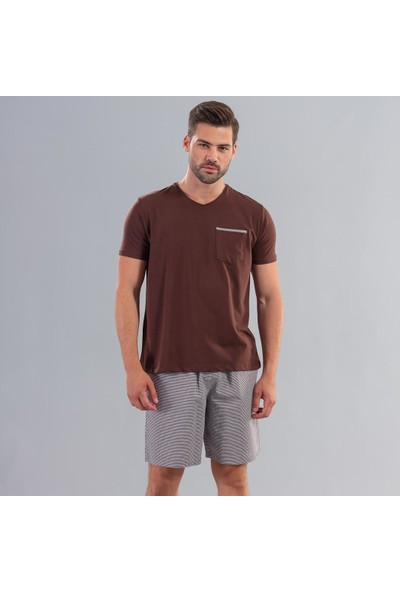 Ödül 9010 Erkek T-Shirt Şort Pijama Takımı Kahve