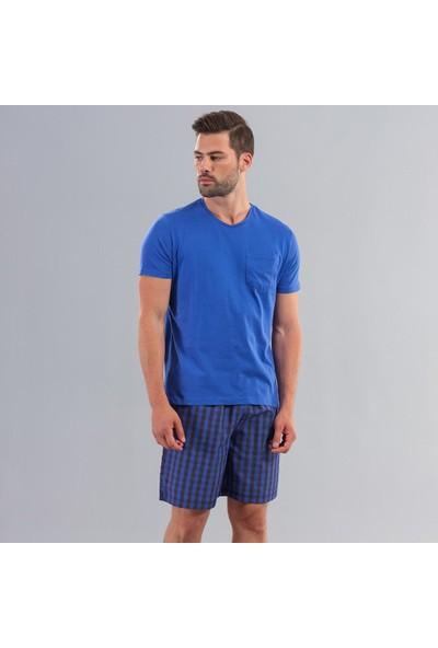 Ödül 9004 Erkek T-Shirt Şort Pijama Takımı Mavi