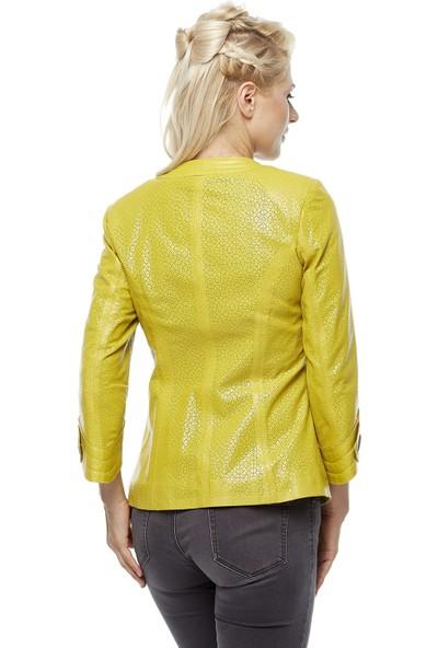 Deriza Adrina Sarı Kadın Deri Ceket