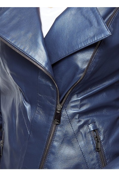 Deriza Alda Spor Mavi Deri Ceket