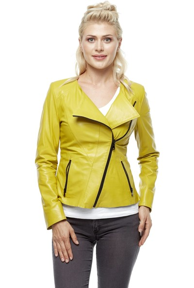 Deriza Alda Spor Sarı Deri Ceket
