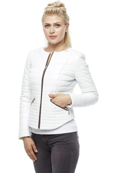Deriza Arabella Beyaz Kadın Deri Ceket