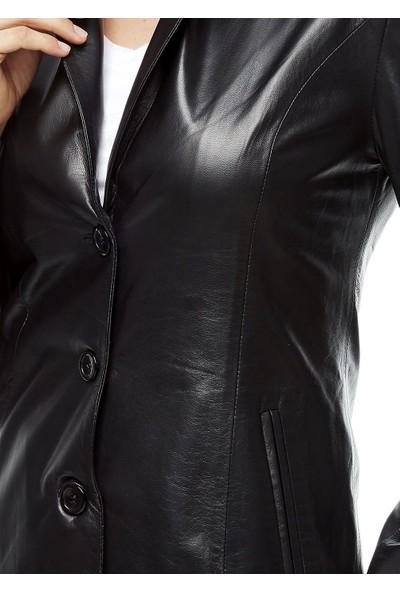 Deriza Blazer Siyah Deri Ceket