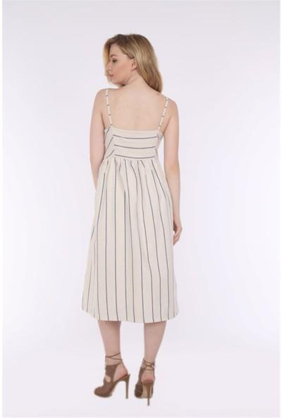 Her Mod'a Bir Moda Keten Askılı Elbise