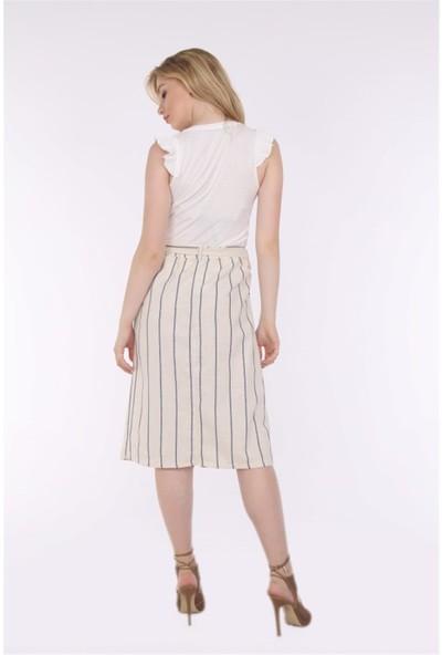 Her Mod'a Bir Moda Keten Düğmeli Etek