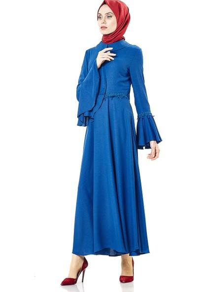 Nihan Güpürlü Abiye Elbise-İndigo Z1179-07