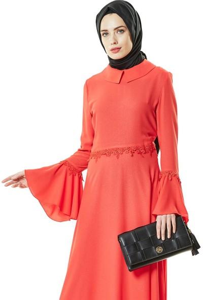 Nihan Güpürlü Abiye Elbise-Kırmızı Z1179-11