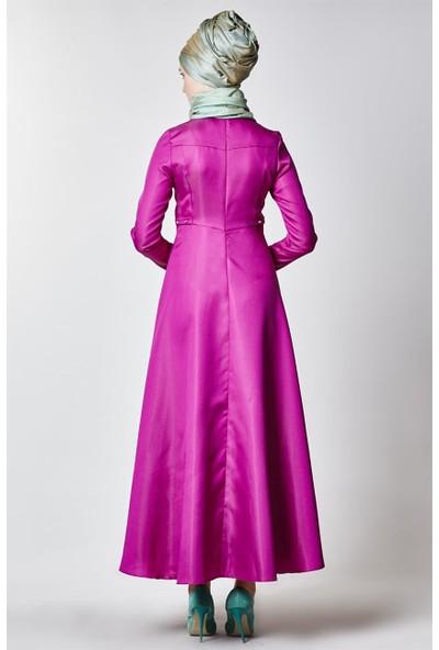 Nihan Taş Detaylı Abiye Elbise-Fuşya Z1256-26