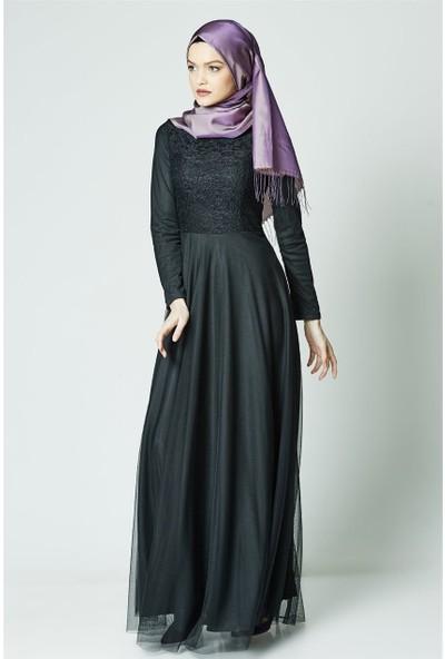 Mileny Abiye Elbise-Siyah ELB 3456-01