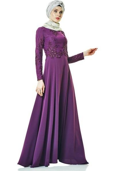 Fashion Night Abiye Elbise-Mürdüm 2179-51