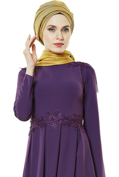 Fashion Night Abiye Elbise-Mürdüm 2188-51