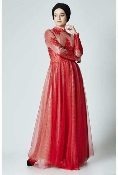Nassah Abiye Elbise-Kırmızı PN2555-34