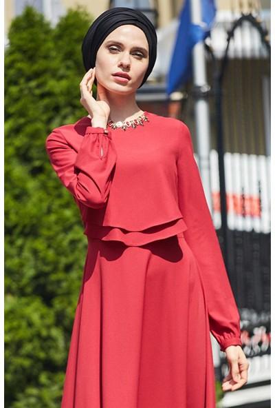 2niq Kloş Abiye Elbise-Kırmızı PN8079-34