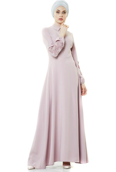 2niq Güpür Detaylı Abiye Elbise-Pudra PN8145-41