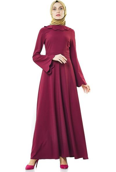 2niq Kloş Abiye Elbise-Vişne PN8246-61