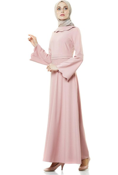 2niq Kloş Abiye Elbise-Pudra PN8246-41