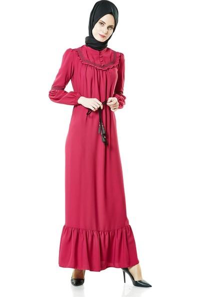 2niq Fırfır Detaylı Elbise-Fuşya 4006-43