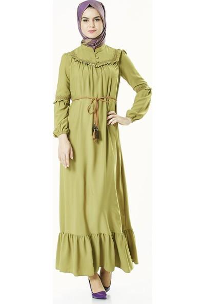 2niq Fırfır Detaylı Elbise-Safran 4006-74