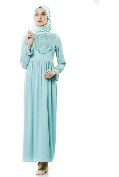 2niq Güpürlü Elbise-Su Yeşili PN8252-69