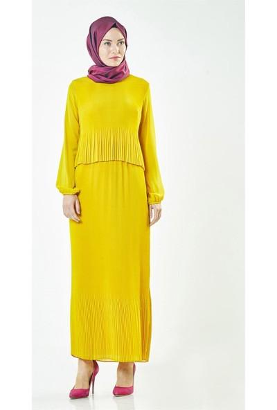 2niq Piliseli Elbise-Safran BL7327-74