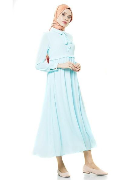 2niq Bağcık Detaylı Elbise-Mavi BL7321-70