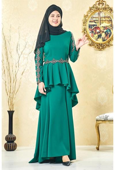 Lady Nur Abiye Elbise-Yeşil 3004-21